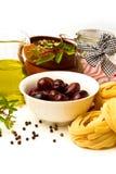 与蔬菜的意大利意大利面食 免版税库存照片
