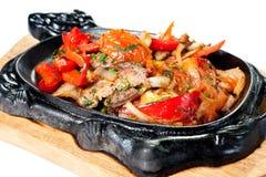与蔬菜的烤肋条肉 图库摄影
