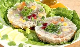 与蔬菜的肉在果冻 免版税库存照片