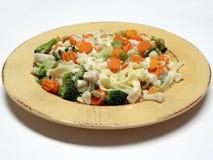与蔬菜的Fettucine 库存照片