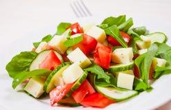 与蕃茄、芝麻菜、黄瓜和乳酪立方体的新鲜的沙拉 库存照片