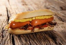 与蕃茄辣调味汁、芥末和葱的热狗 免版税库存照片