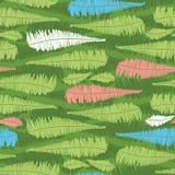 与蕨叶子条纹的传染媒介绿色无缝的样式 适用于纺织品、缎带包装和墙纸 皇族释放例证