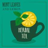 与薄荷叶和柠檬的清凉茶 标签的设计 免版税图库摄影