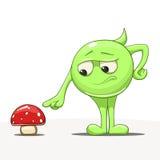与蘑菇传染媒介的漫画人物 库存照片