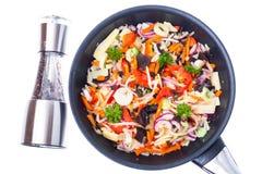 与蘑菇mun、笋和soyb的油煎的混杂的菜 库存图片