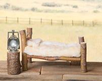 与虚假床罩的新出生的背景支柱日志床 库存图片