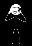 与虚拟现实的棍子形象 免版税库存图片