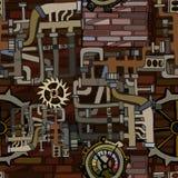与虚构的大齿轮的抽象工业背景 库存照片