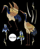 与虹膜花的苍鹭起重机刺绣 被绣的传染媒介时尚 库存图片