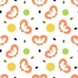 与虾心脏,柠檬,石灰的无缝的背景 免版税图库摄影