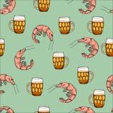 与虾样式的啤酒 动画片传染媒介背景 图库摄影