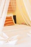 与蚊帐纱的床 免版税库存照片