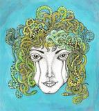 与蛇的头发的水母 免版税图库摄影