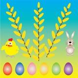 与蛋和柳树的背景 免版税库存图片