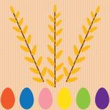 与蛋和柳树的背景 免版税图库摄影
