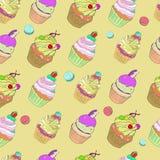 与蛋糕和丝带的图象的例证在绿松石背景 向量 免版税库存照片