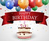 与蛋糕和丝带的生日贺卡 免版税库存图片