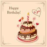 与蛋糕排、蜡烛、樱桃、糖果和文本的生日贺卡 免版税库存照片