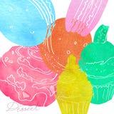 与蛋糕的图象的例证做了水彩剪影桃红色,蓝色,绿色,黄色和红色 点心题字 Waterc 免版税库存图片