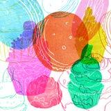 与蛋糕的图象的例证做了水彩剪影桃红色,蓝色,绿色,黄色和红色 库存照片
