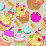 与蛋糕的图象的例证 在灰色背景的明亮的多彩多姿的样式 向量 库存照片