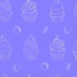 与蛋糕的图象的例证 样式在明亮的蓝色背景做了白色概述 向量 免版税库存图片