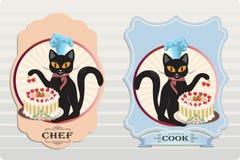 与蛋糕的猫 免版税库存照片