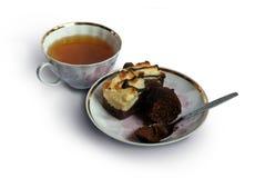 与蛋糕的茶 免版税库存照片