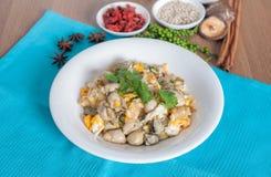 与蛋菜单的被炖的牡蛎 免版税库存图片