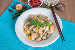 与蛋菜单的被炖的牡蛎 免版税库存照片