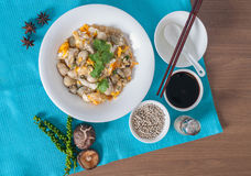 与蛋菜单的被炖的牡蛎 库存照片