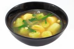 与蛋豆腐和金瓜的泰国汤 免版税库存照片