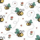 与蜂和花的可爱的简单的样式 向量例证