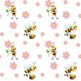 与蜂和花的无缝的设计 免版税库存照片