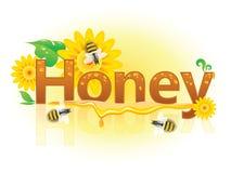 与蜂和花的横幅蜂蜜 库存照片