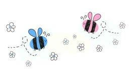 与蜂的婴孩新出生的男婴女婴标志 库存图片
