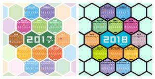 与蜂窝形状的传染媒介2017,2018日历 免版税库存照片