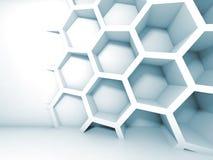 与蜂窝的抽象蓝色3d内部 免版税库存图片