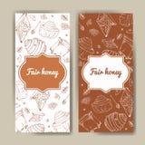 与蜂蜜元素的传染媒介卡片 菜单的,海报,卡片模板 与健康食物生产的背景 免版税库存照片
