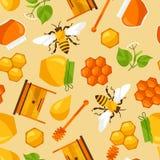 与蜂蜜和蜂对象的无缝的样式 免版税库存图片