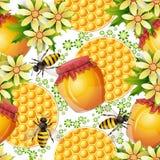 与蜂蜜瓶子的无缝的模式 免版税库存照片