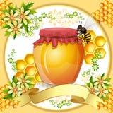 与蜂蜜瓶子的背景 图库摄影