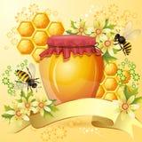 与蜂蜜瓶子的背景 库存照片