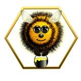 与蜂蜜瓶子的飞行蜂 库存照片