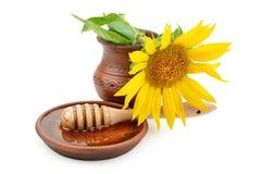 与蜂蜜drizzler和花向日葵的盘 免版税库存照片