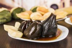 与蜂蜜higos的传统厄瓜多尔食物无花果 图库摄影