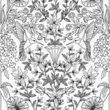 与蜂鸟和花的无缝的样式 免版税库存图片