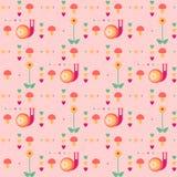 与蜗牛的传染媒介无缝的桃红色样式 免版税库存照片