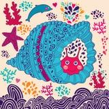 与蜗牛的动画片例证 库存照片
